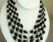 VIntage Multistrand Beaded Necklace, Black Glass, White faux Pearls
