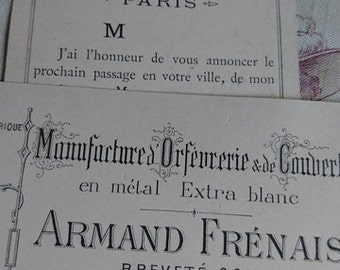 Charming antique French calling card and business card PARIS orfeverie silvermith c1900 Amand Frenais