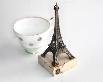 Eiffel Tower Statue on Marble Cast Metal Paris France Souvenir Decor