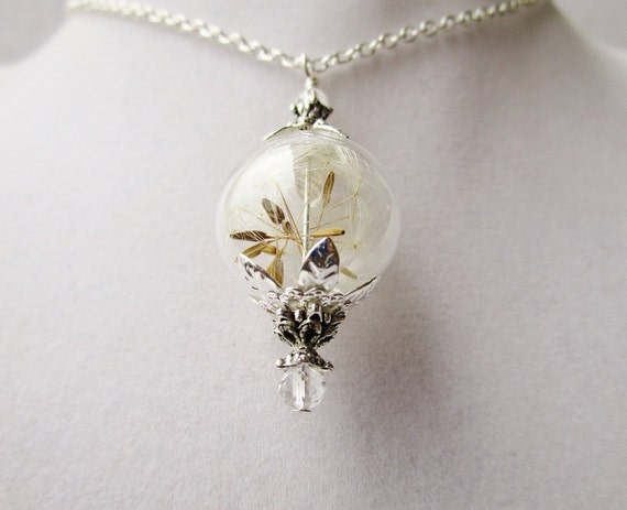Dandelion Seed Glass Orb Terrarium Necklace with Tiny Clear Crystals, Small Orb in Bronze or Silver, Bridesmaids Gifts