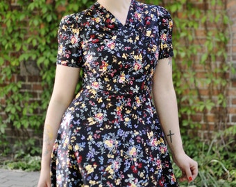 40s style floral dress in black cotton with flowers, made to order, sizes 0 to 16 / swing dance dress / lindy hop dress / vintage style
