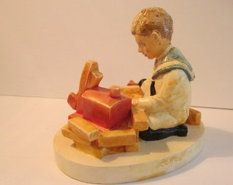 Boy Playing with Blocks - Building Days 6260 - Signed Limited Edition Sebastian Miniature Ceramic Sculpture