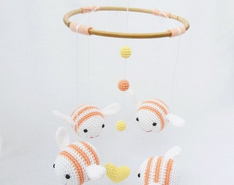 Baby Mobile Baby Shower Gift, Bumble Bee Nursery Mobile, Bee Nursery Decor, Apricot Baby Mobile