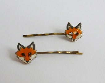 Red Fox Antique Bronze Colour Hair Grip Bobby Pins Grips Slide Woodland Animal Jewellery