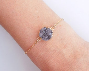 Raw Amethyst Drusy Bracelet in Gold- Druzy Jewelry - OOAK Top Selling Bracelet