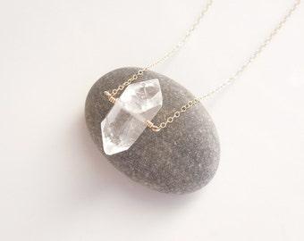 Solitaire Quartz Necklace in Gold - OOAK Jewelry