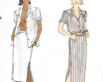 Vogue 7388 Misses' 70s Loose Fitting Shirt, Straight Skirt and Closely Fitted Bra Sewing Pattern Size 6 Bust 30 1/2
