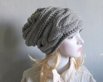 Ribbed knit hat - knitted gray hat - unisex knit hat - knitted ski hat - knit gray marble hat Slouchy Hat