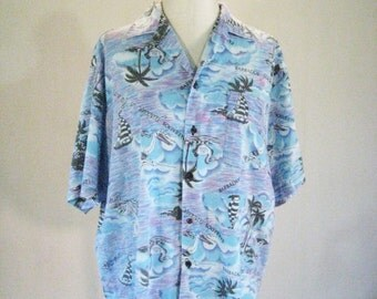 Paradise in the Sun Blue & Purple Hawaiian Shirt Top