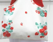 Summer Tote/Purse - Vintage Strawberry Tablecloth - Strawberries - Red and White - Cottage