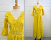1970s Bright Yellow Cotton and Lace Maxi Dress