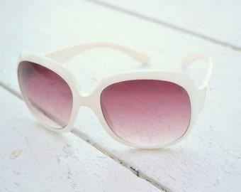 1960s White Plastic Sunglasses