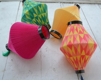 1940s West German Collapsible Paper Candle Lanterns, Set of 4