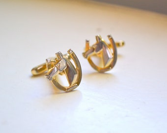 1960s Horse and Horseshoe Cuff Links