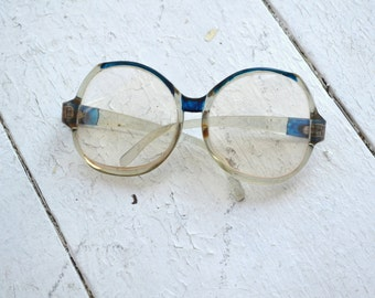 1980s Blue and Clear Oversize Plastic Eyeglasses Frames