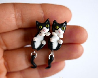Black and White Cats Earrings