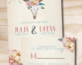 Boho Floral Skull Wedding Invitation and Response Card Invitation Suite