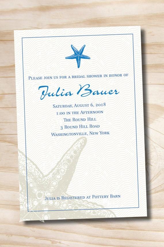 Printable Starfish Bridal Shower Invitation Coral - Printable digital file or printed invitations