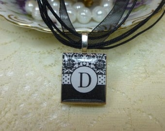 Black and White Damask Monogram Scrabble Tile Necklace on Ribbon or Ball Chain