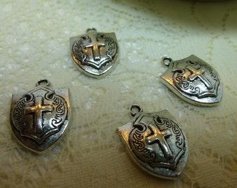 4-Tibetan Silver Cross Shield Pendant Charm