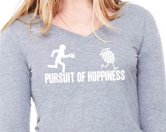 Pursuit of Hoppiness Women's 3/4 Sleeve Relaxed V-Neck Tee Homebrewer Beer Geek Beer Girl Gift