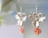 Rose Gold Flower Earrings, Dangle Earrings, Drop Earrings, Minimalist Earrings, Rose Gold, Two Tone, Bridal Jewelry, Modern, Valentine's Day