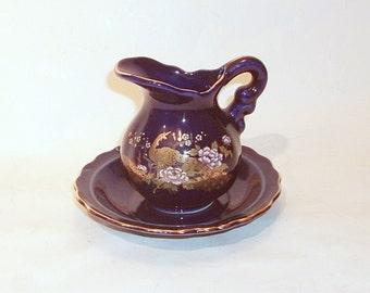 Vintage Mini Cobalt Blue Pitcher and Bowl