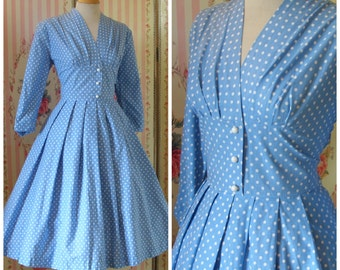 1950s Day Dress / Mini Polka Dot Print / Full Skirt / Crisp Cotton / Pale Pastel Blue / L Large