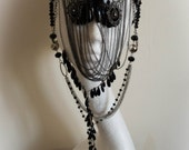 Black Guipure Lace 'Insomnium' Crystal Chain Mask & Cap Gothic Couture