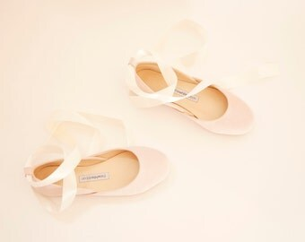 Light Blush Ballet Flats with Ivory Satin Ribbons | Tie Around Ballerina Style Flat Shoes | Blush ... Made to Order