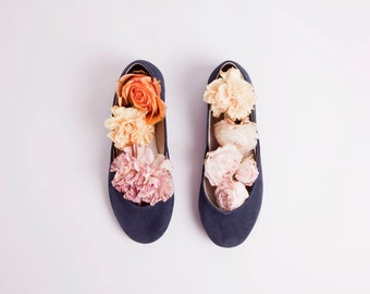 Handmade Leather Navy Blue Suede Ballet Flats | Ballerina Style Flat Shoes | Navy...made to order
