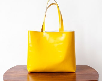 Rainbow SALE Buttercup Yellow Leather Tote bag No. LTb-1571