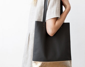 SPRING SALE Gold Dipped Charcoal Grey Leather Tote bag