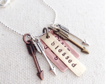 Psalm 127:3-5 Blessed Mama Mixed Metal Arrow Necklace
