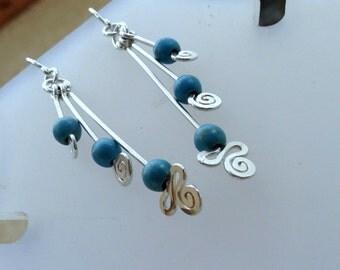 Sterling silver Turquoise earring, handcrafted silver drop earrings, long dangle earrings, spirals earrings,3 blue stone, gift for teen,