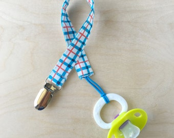 Pacifier Clip - Royal Plaid