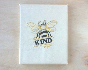 Embroidered Canvas Wall Art 8x10 - Bee Kind