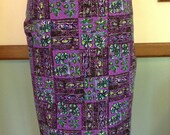 2 Yards Vintage Tribal Floral Print Yardage Purple Fabric
