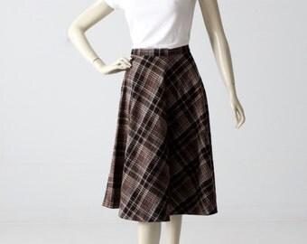 1960s plaid skirt, vintage wool a-line midi skirt