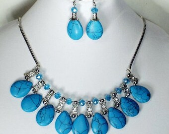 Blue Tear Drop Turquoise Necklace and Earrings