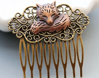 Red Fox Brass Hair Comb, Wedding Bridal Hair Comb.Flowers Collage Hair Comb, Bridal Bridesmaid Comb,Summer,Gift for her