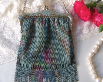 Vintage Mesh Bag Teal Enamel Fully Lined Art Deco Chain Mail Mesh Evening Purse Gift For Mom 1920s