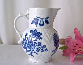 Antique Dr Wall Porcelain Mask Jug circa 1785 Worcester Porcelain 18th Century English Pottery Cabbage Leaf Design Crescent Makers Mark