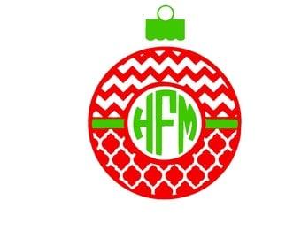 Christmas Chevron and Quarter foil Monogram Ornament SVG or Silhouette Instant Download