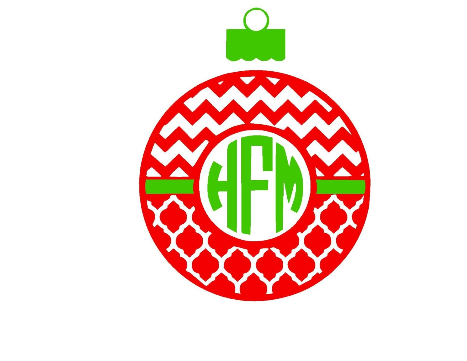 Christmas chevron and quarter foil monogram ornament svg or