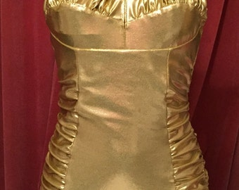 Vintage 1950s inspired gold lame effect stretch bombshell swimsuit rockabilly VLV XS to 3XL