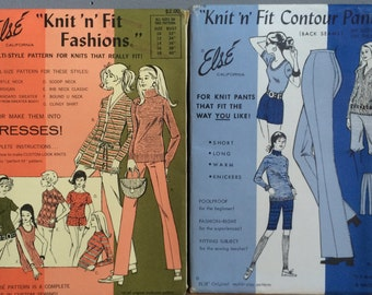 Vintage Else' California Sewing Patterns Contour Pants and Sweaters and Sweater Dresses #170 #105 1970s