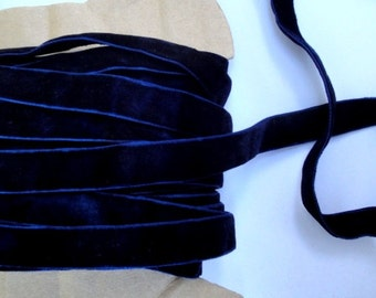 "5/8"" Wide ( 15.8 mm ) Luxurious Double Sided Reversible Midnight Blue Velvet Ribbon Trim Two Faced for Gift Wrap Sewing Millinery Decor S129"