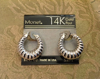 Vintage Monet Pierced Earrings, hoops earrings, silver earrings,post earrings, stud earrings