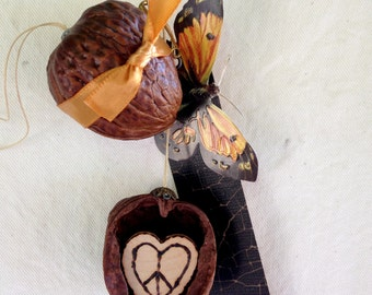 walnut ornament. custom initials.  original ornament.